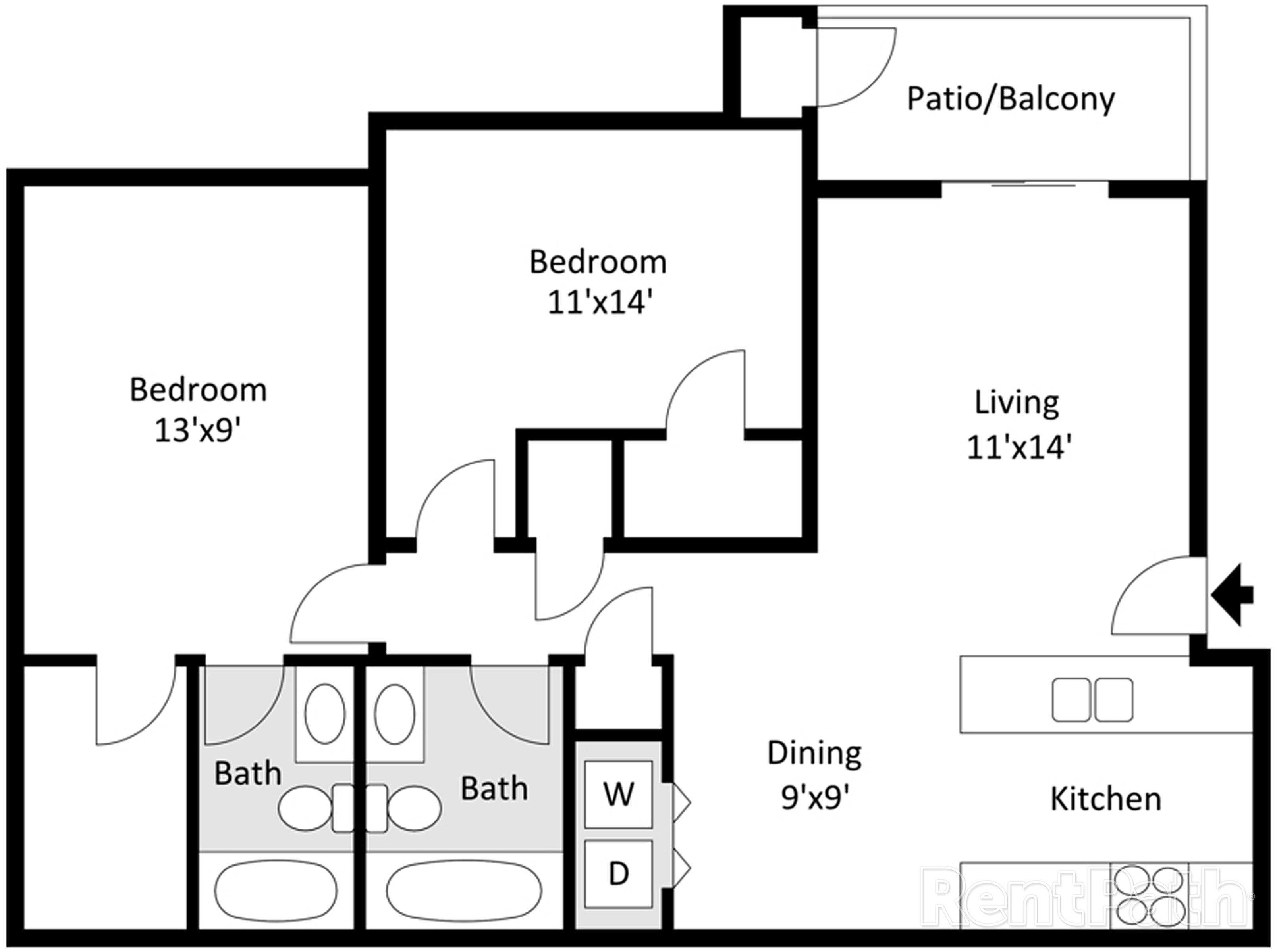 Willow Creek 2 Bedroom, 2 Bathroom Floor Plan 3D