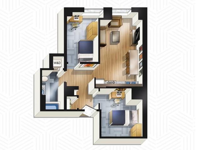 2x1. Floors 14-18