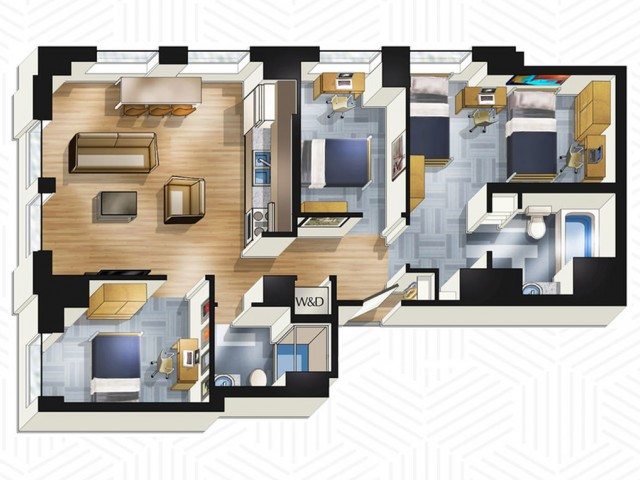 3x2. Floors 14-18