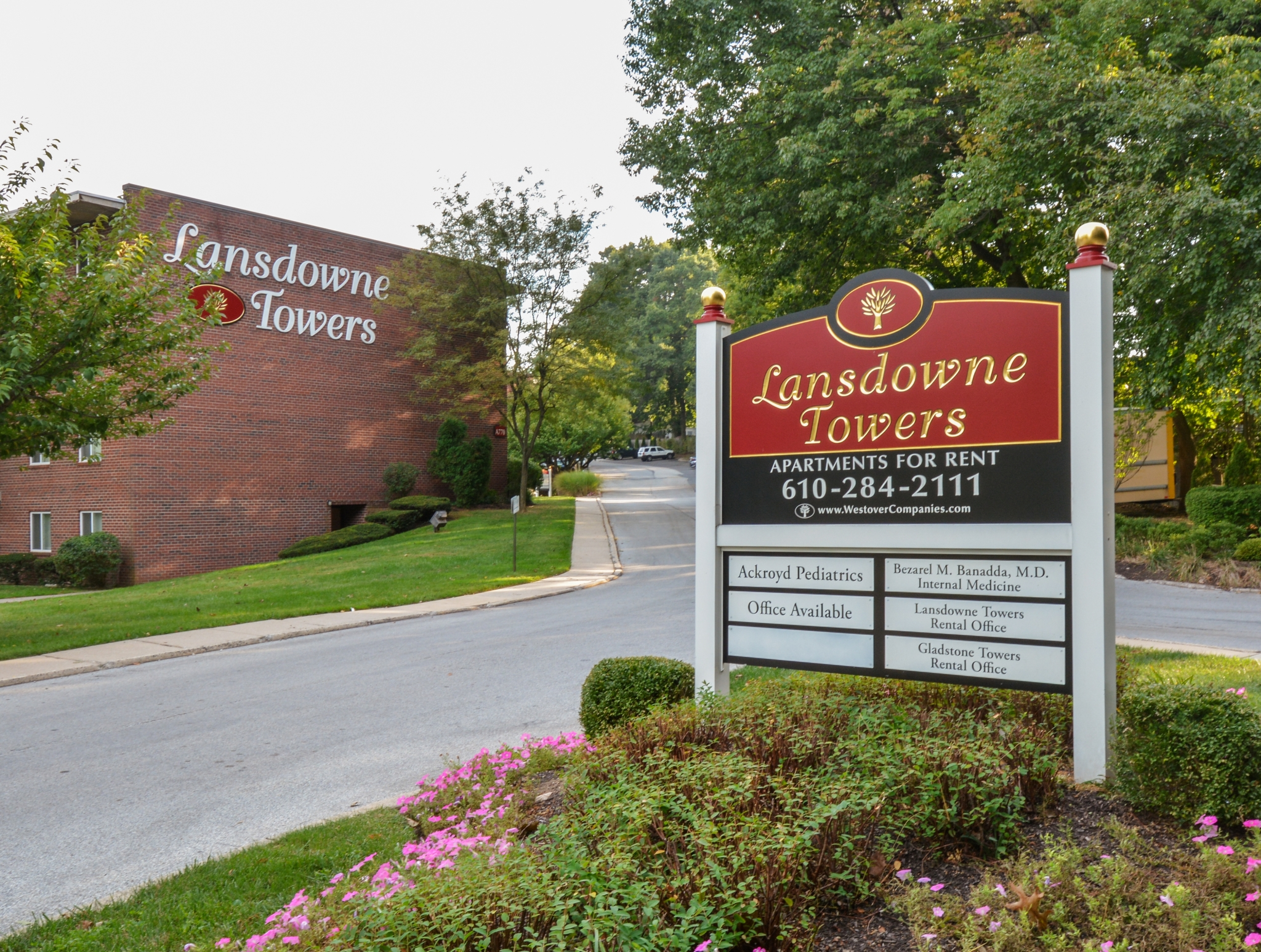 Lansdowne Towers Red Welcome Sign | Apartments in Lansdowne PA