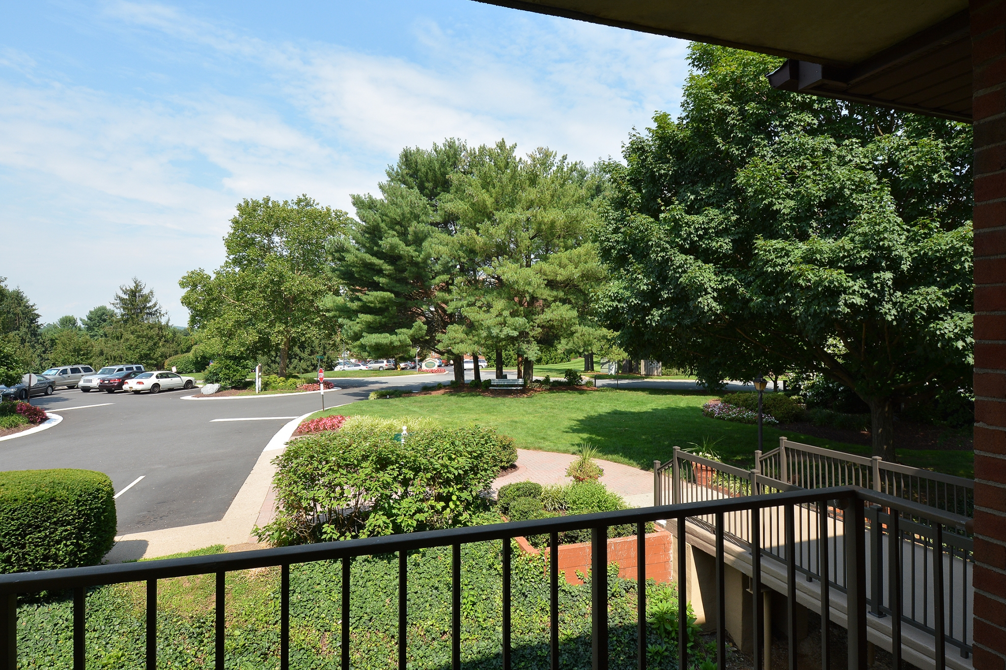 Fairway Park Sample Balcony View with Lush Landscaping | Apartments Near Wilmington DE
