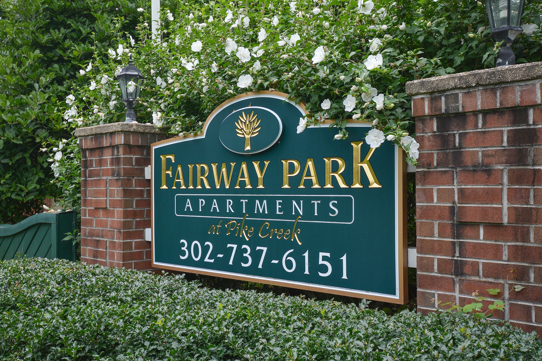 Fairway Park Green Welcome Sign | Apartments Near Wilmington DE