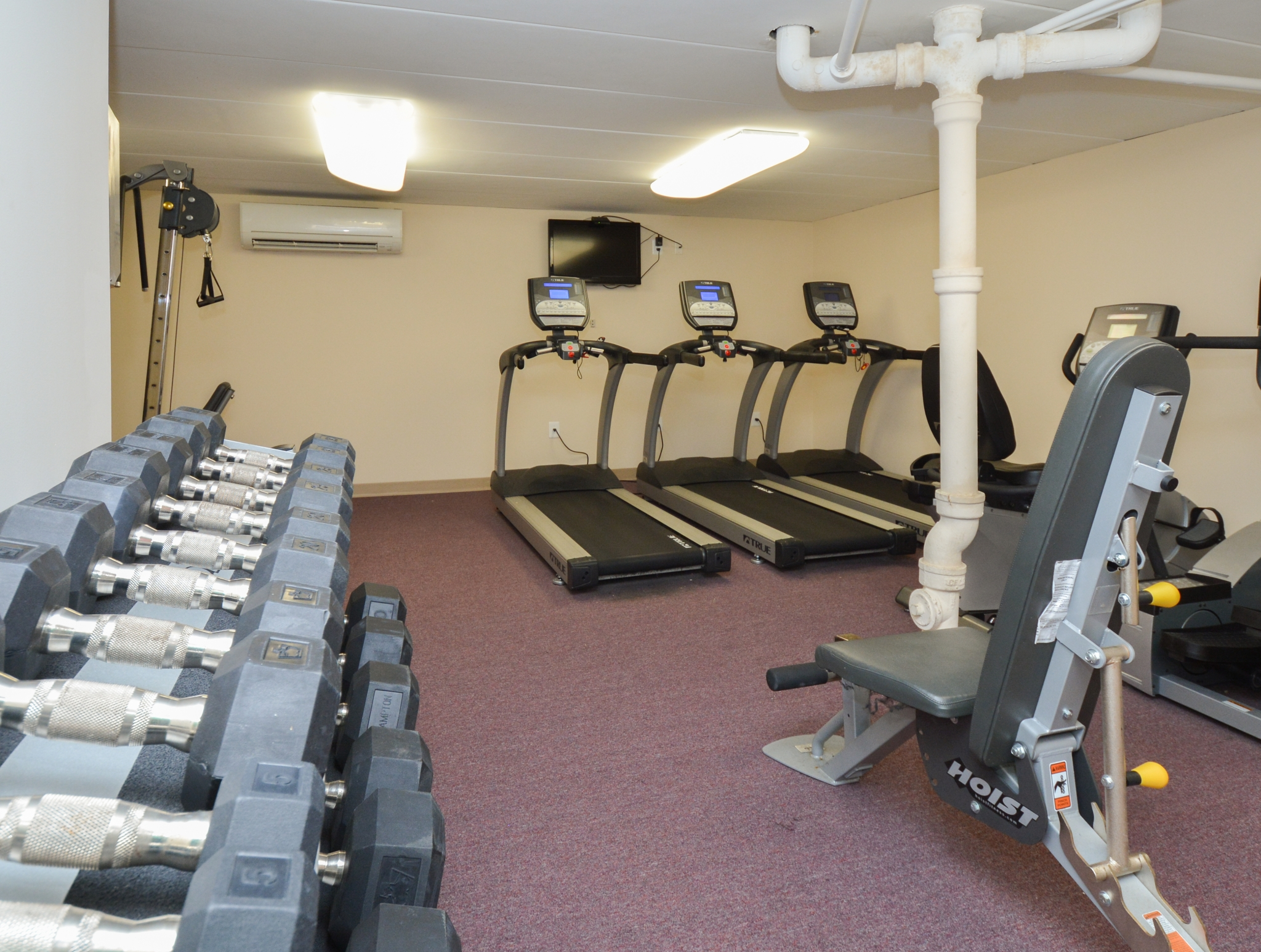 Fitness Center with Dumbbells, Treadmills, Cable Machine, and Bench | Apartments near Media, PA