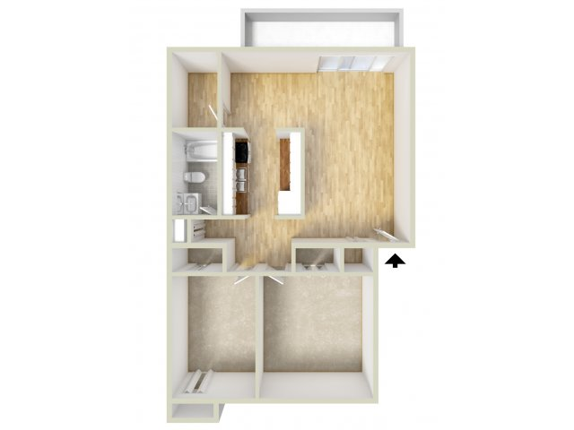 Two bedroom end floor plan