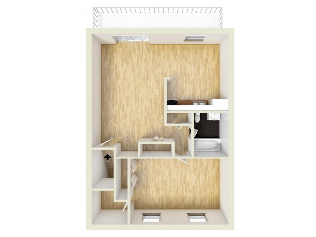 One bedroom, upper level floor plan