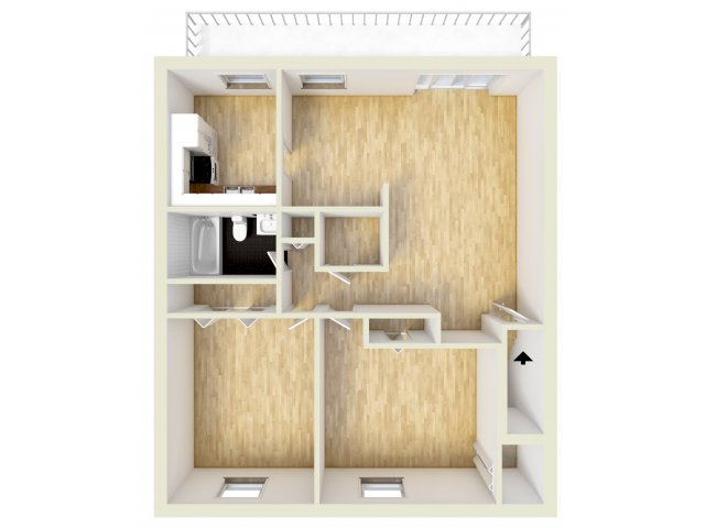 Two bedroom, upper level floor plan