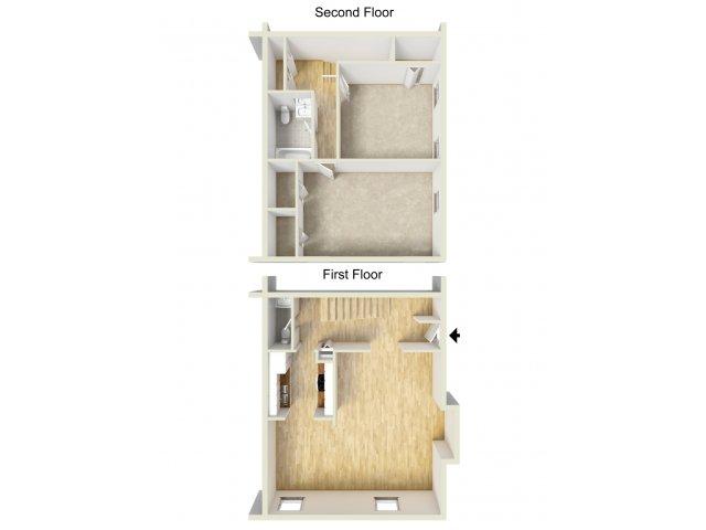 Two bedroom townhome floor plan
