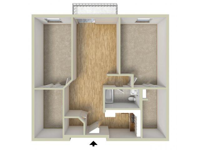 One bedroom with den floor plan