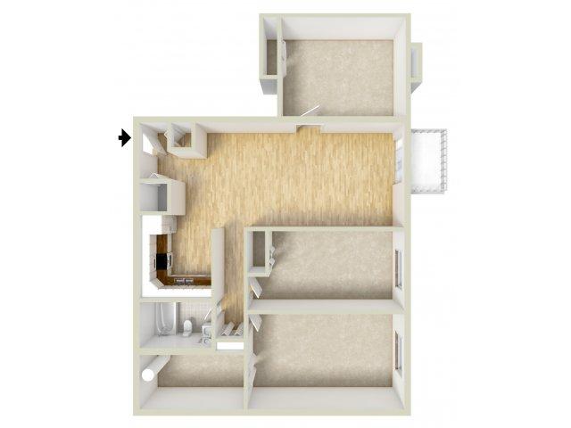 Two bedroom with den floor plan