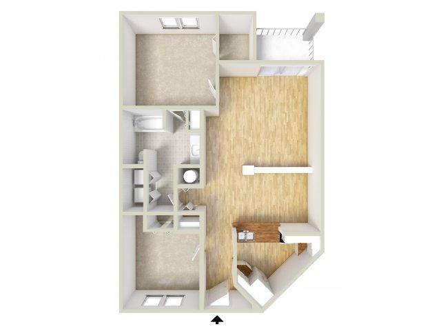Irvington - one bedroom with den floor plan