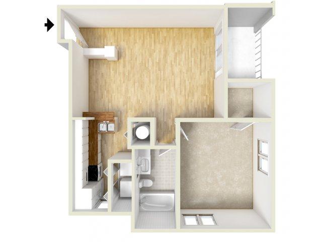 Adams - one bedroom floor plan