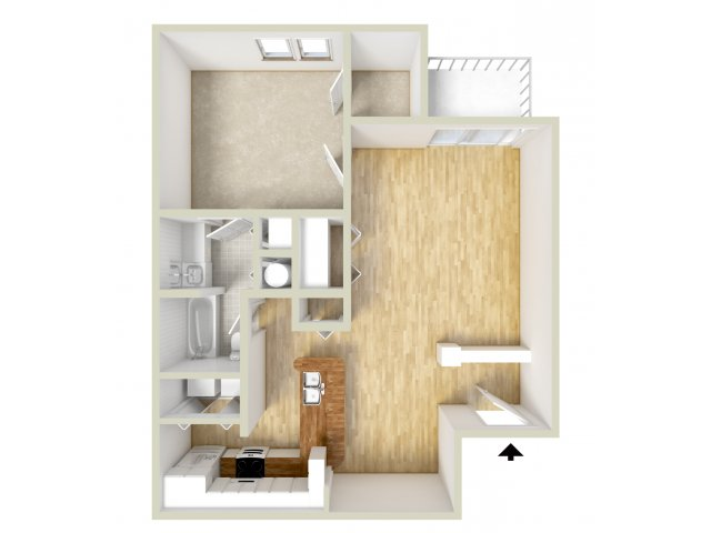 Delorme - one bedroom floor plan