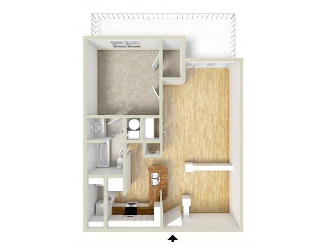 Franklin - one bedroom floor plan