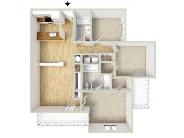 Mencken - three bedroom floor plan