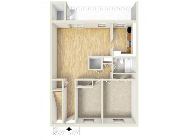 Two bedroom downstairs floor plan