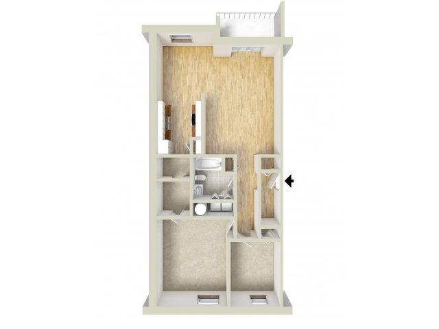 One bedroom with den floor plan