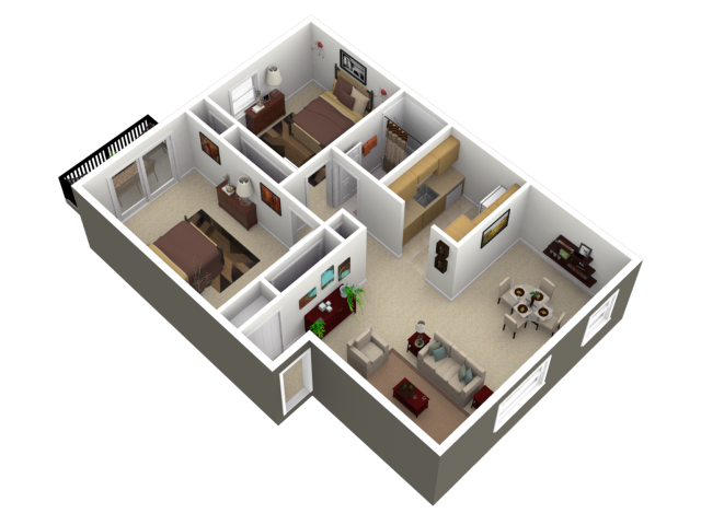 Floor Plan 3 | Womelsdorf Pennsylvania Apartments | Park Court Apartments