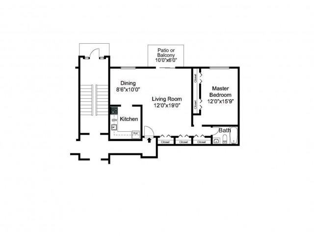 Oak Fores One Bedroom Floor Plan