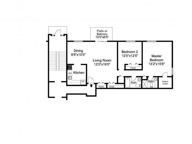 Oak Forest Two Bedroom floor plan