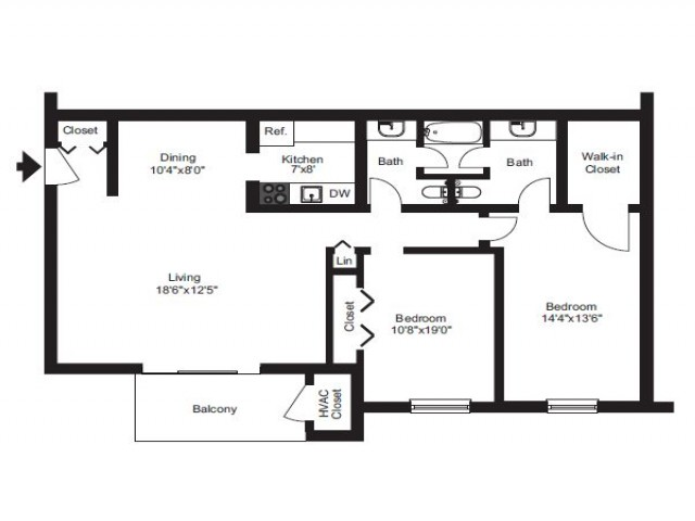 2 Bedroom Floor Plan | Pet Friendly Apartments Near Me | Caln East Apartments