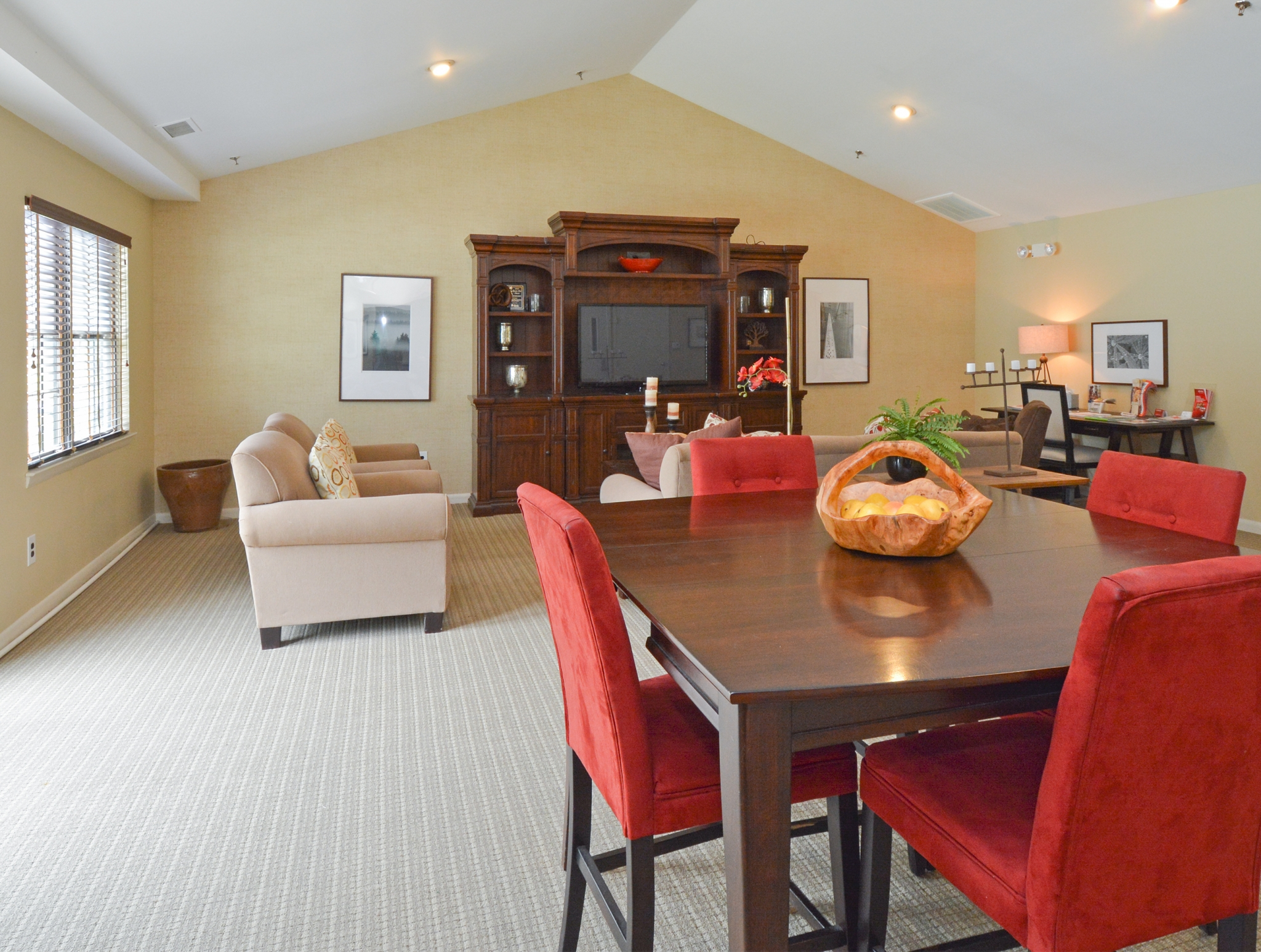 Willow Ridge Village Community Clubhouse with Brown Table and Wall Unit | Apartments In Marlton NJ