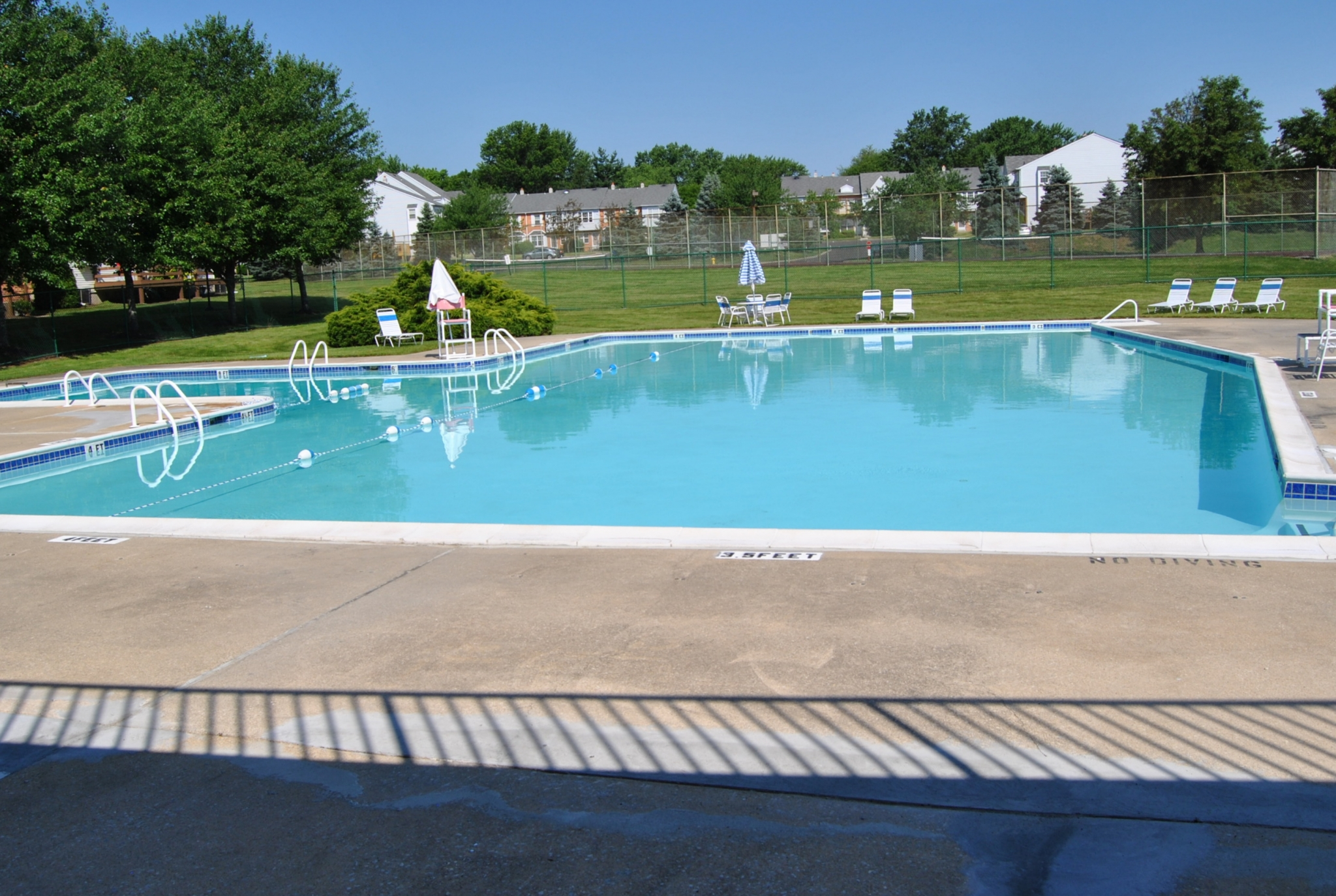 Westover Village Swimming Pool with Tennis Court in Back | Apartments near Norristown, PA