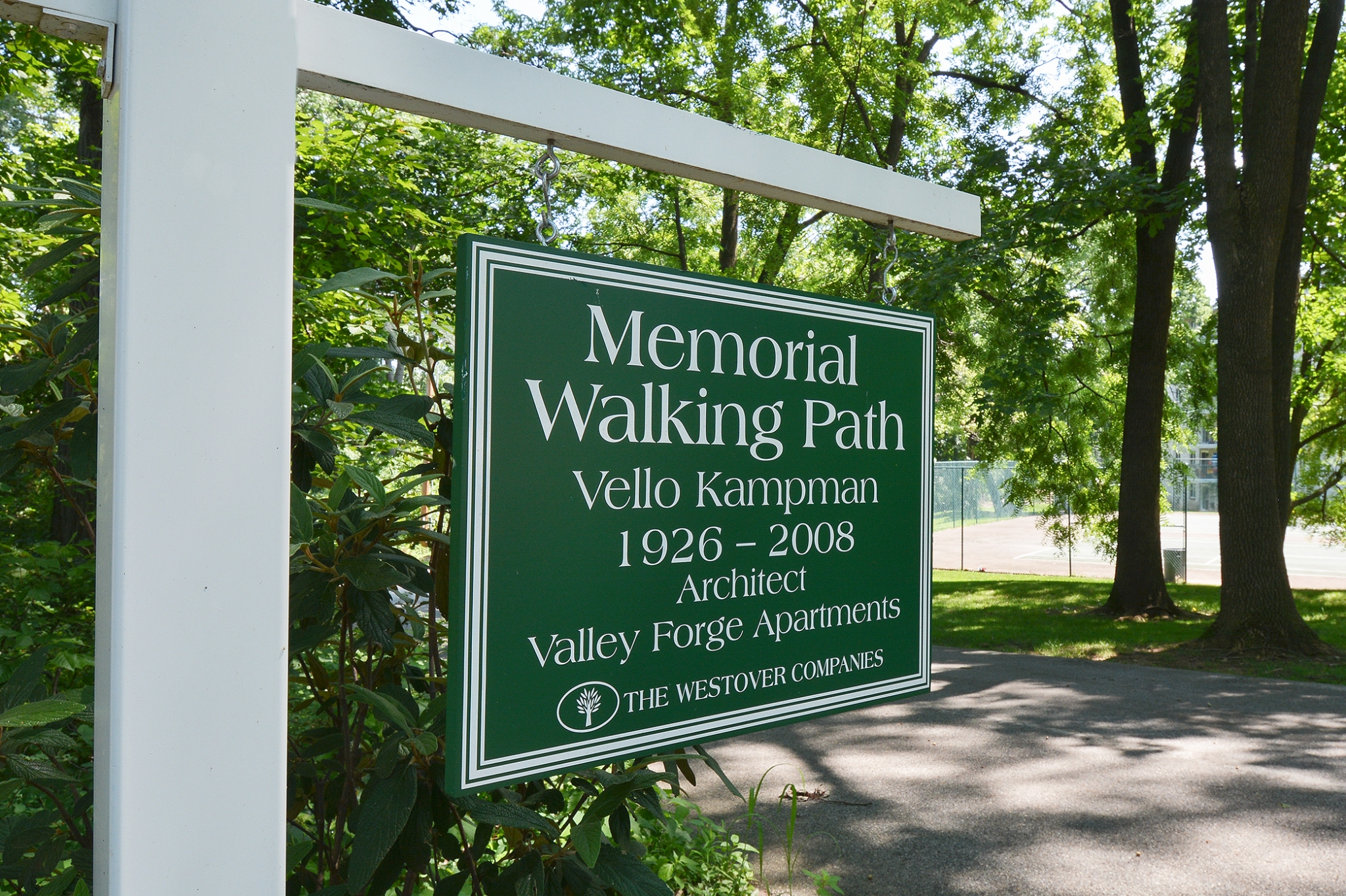 The Lafayette at Valley Forge Memorial Walking Path Green Sign | King of Prussia Apartment Rentals