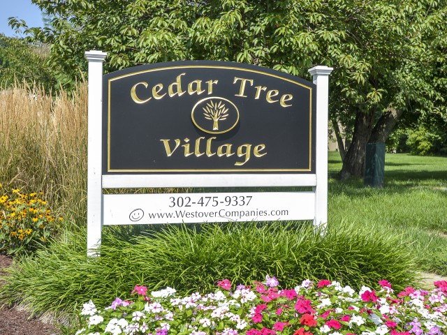 Cedar Tree Village Welcome Sign | Apartments Near Wilmington, DE