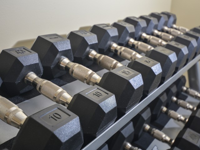 Norwood House Fitness Center with Dumbbells | Apartments In Downingtown