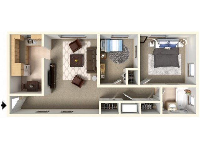 F Layout (Living Room in Middle)