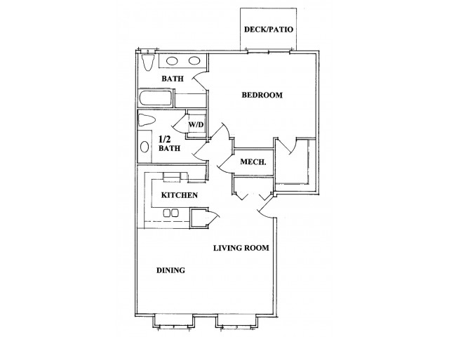 One Bedroom Two Bath Floorplan