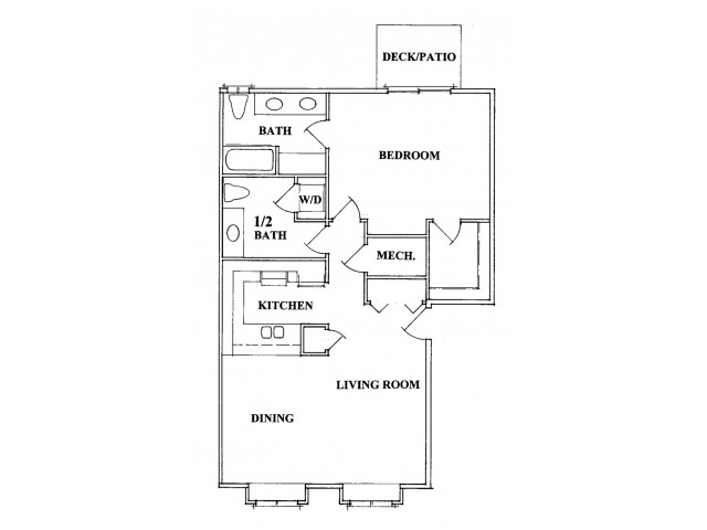 One Bedroom One & 1/2 Bath
