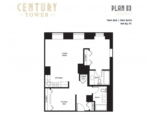 2 Bed 2 Bath Plan 3C