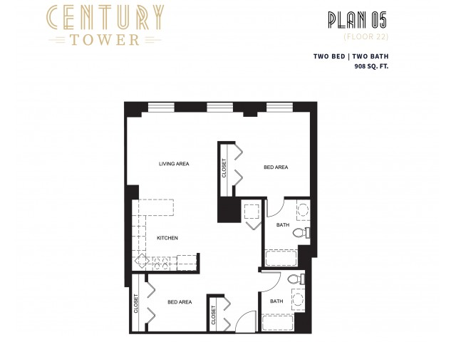 2 Bed 2 Bath Plan 5C