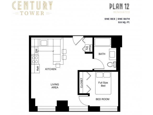 1 Bedroom Plan 12 Renovated