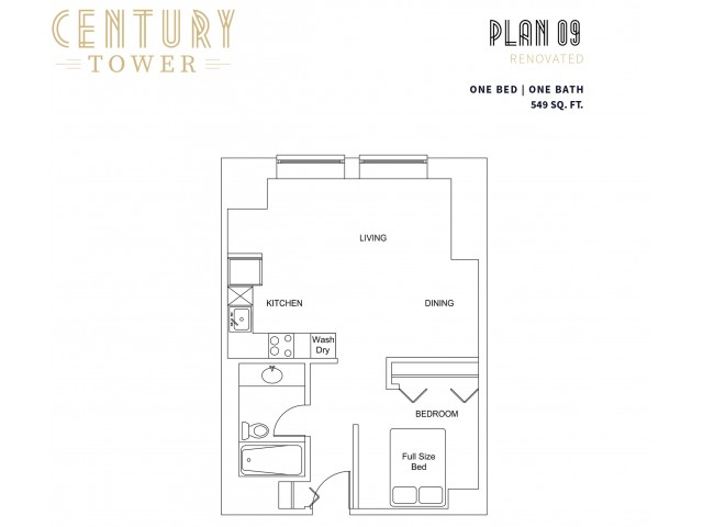 1 Bedroom Plan 9 Renovated