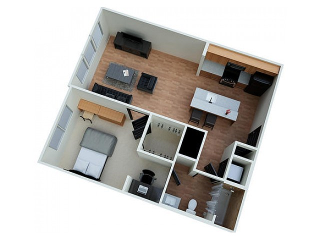 A1 Floor Plan Layout for Eclipse on Madison apartment