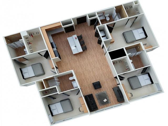 4 Bedroom 4 Bathroom Floorplan Eclipse on Madison