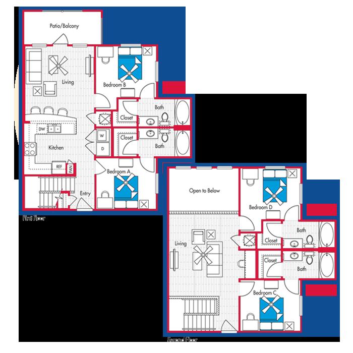4 Bedroom, 4 Bath Floor Plan (D2)