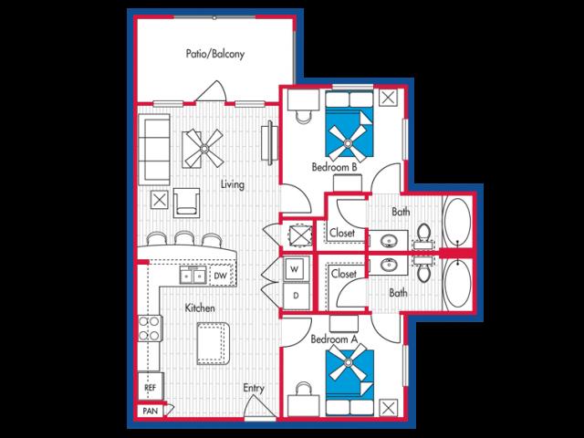 2 BEDROOM, 2 BATH - B1 Floorplan