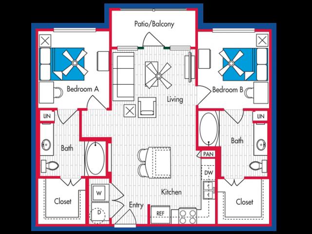 2 BEDROOM, 2 BATH Floor Plan B2