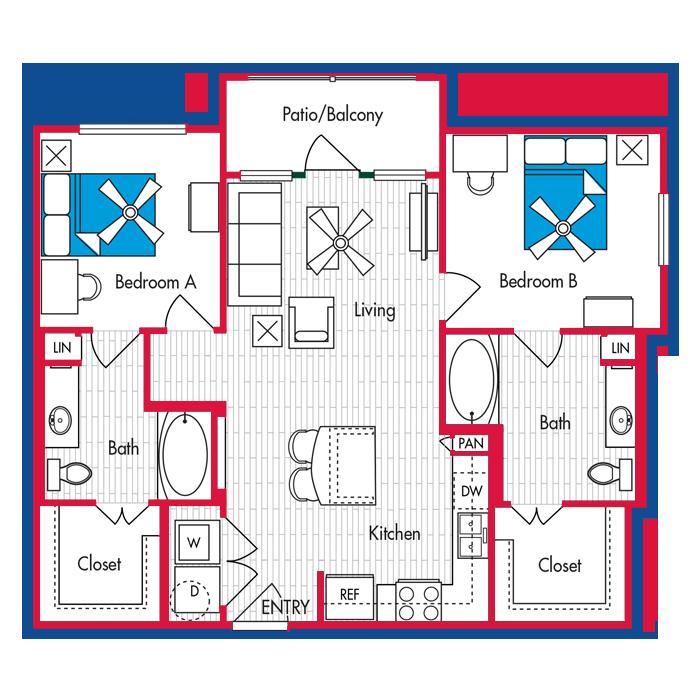 2 BEDROOM, 2 BATH Floor Plan B2A