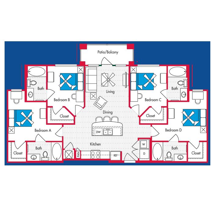 4 BEDROOM, 4 BATH Floor Plan D1