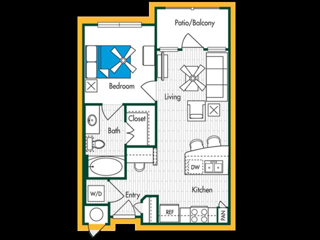 1 Bedroom, 1 Bath (A1) Floor Plan Layout