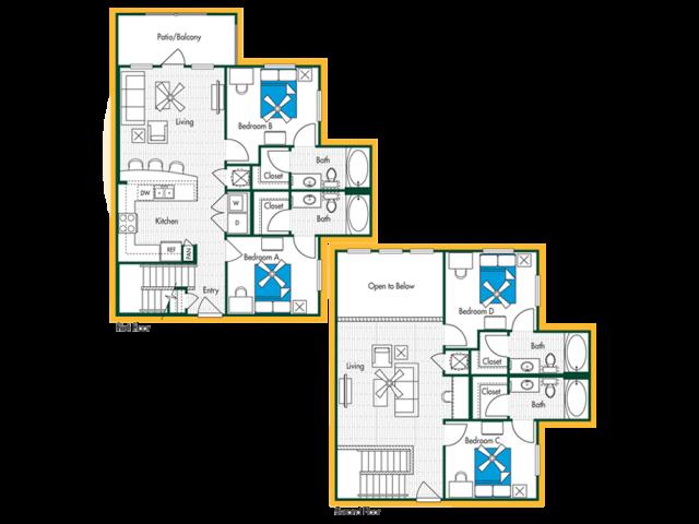 4 Bedroom, 4 Bath (D2) Floor Plan Layout