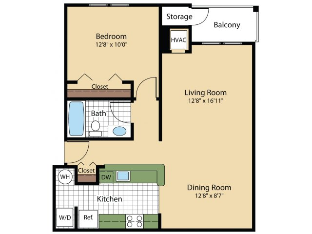 1 Bedroom Floor Plan | Luxury Apartments In Frederick MD | Reserve at Ballenger Creek
