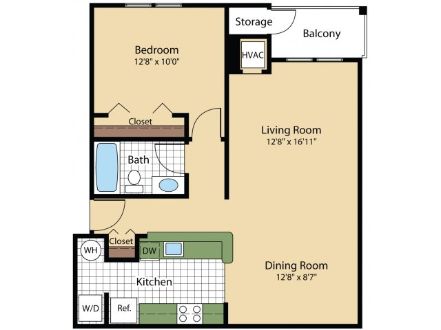 1 Bdrm Floor Plan | Apartments Frederick MD | Reserve at Ballenger Creek