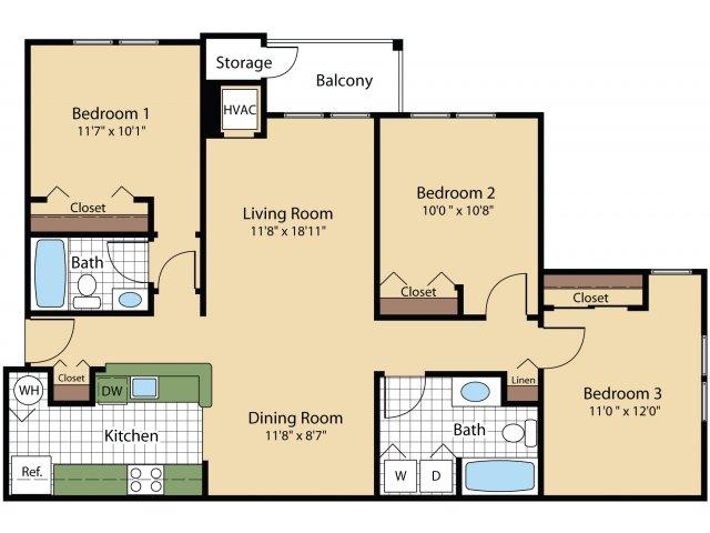 3 Bedroom Floor Plan | Apartments In Frederick MD | Reserve at Ballenger Creek
