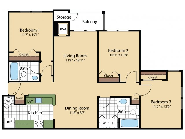 3 Bdrm Floor Plan | Apartments For Rent In Frederick Maryland | Reserve at Ballenger Creek