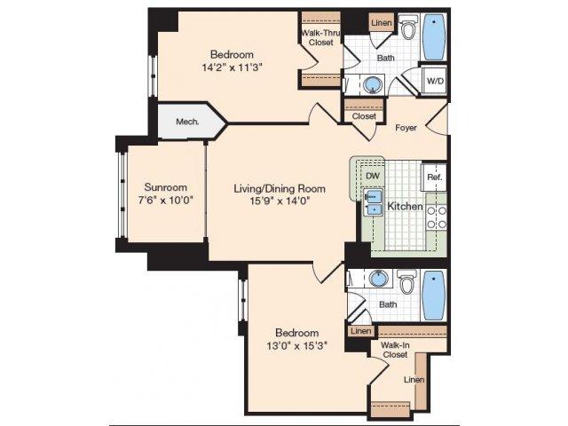 Floor Plan 9 | Old Town Alexandria Apartments | Meridian at Eisenhower Station
